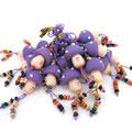 紫色小蘑菇软陶卡通手机链